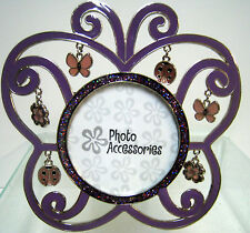"""New Butterfly Purple Sparkle 2.5"""" Photo Frame Ladybug Butterflies Picture Frames"""