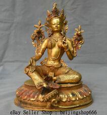 "10.4"" Old Tibet Temple Bronze Gilt Green Tara Mahayana Buddhism Goddess Statue"