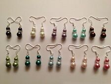 Wholesale 10 Pairs mix colored glass pearl beaded tibet silver dangle earrings