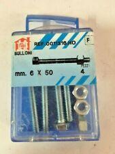 4 Bulloni Filettati Testa Esagonale Con Dado In Ferro Zincato 6x50 mm