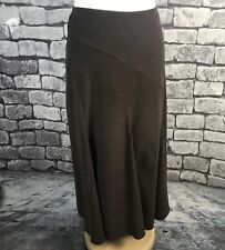 Wallis Brown Suede Feel  Maxi Skirt Size 14 Petite Flared Panels