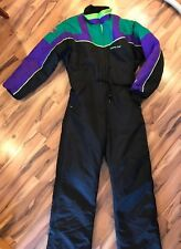 Vintage ARCTIC CAT WEAR Men's Snowmobile Suit Black Green Purple Sz M Medium