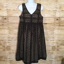 Ann Taylor LOFT Black Beige Crochet V-Neck Sleeveless Babydoll Dress 6 Months