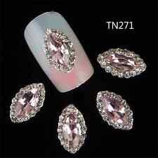 10PCS DIY Crystal Rhinestone Rose Bud Design Nail Art Manicure Decor Jewelry FT