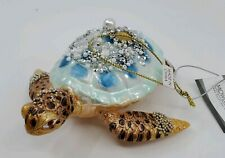 MIdwest CBK Blue Gold Sequin Turtle Glass Christmas Ornament