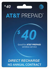 AT&T Prepaid $40 Refill Top-Up Prepaid Card / DIRECT RECHARGE