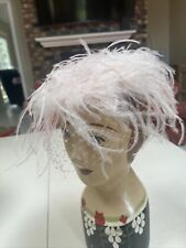 Vintage Hat Pink Ostrich Marabou Feather Church Party Dress 50s 60s Glam Diva
