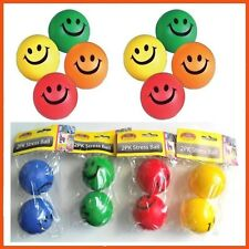 24x Color Stress Balls Hand Relief Squeeze Toy Relieve Anti-stress Soft Smiley D