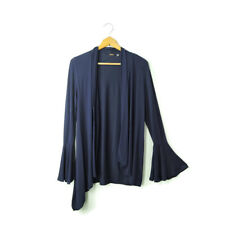 Elie Tahari S blue drape asymmetric front long flare sleeve cardigan knit top