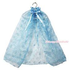 Princess Elsa Silver Snowflake Blue Light Organza Kids Costume Cape Shawl 1-8Y