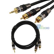 1.5m Mini AV 3.5mm 4 pole plug to 2 RCA AUX Audio male Composite video OFC cable