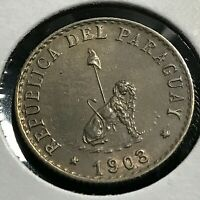 1903 PARAGUAY SILVER 20 CENTAVOS LION WITH CAP SCARCE COIN