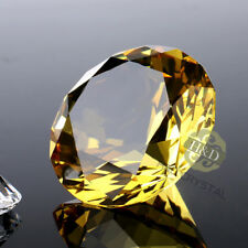 Crystal Yellow Gold Paperweight Faceted Cut Glass Giant Diamond Decor Craft 30mm
