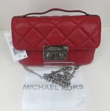 Michael Kors Sloan Small Quilted Messenger Cherry Leather