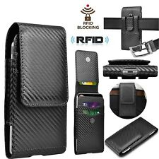 Cell Phone Holster Pouch Belt Leather Wallet Carrying Case for iphone Samsung