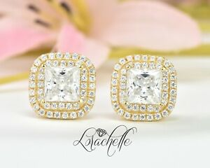 3ct Princess Cut Halo Stud Solitaire Earrings Solid 14k Yellow Gold Screw Back