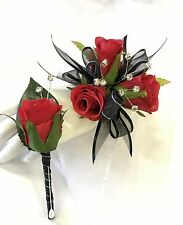 Silk Wedding Flower Red Rose Wrist Corsage Buttonhole Diamante Bouquet Flowers