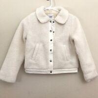 GAP Girls Sherpa Jacket Small S 6 7 Ivory Snap Button Pockets Lightweight New