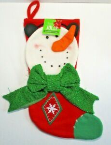 "Snowman Christmas Felt Stocking Character 3D Be JOLLY 20"" Brand New NWT"