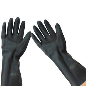 Black Protector Heavyweight Latex Rubber Industrial Gloves Flock Lined Size 9 L