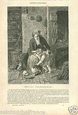 l'Enfant et les Chats Franz Meyerheim Painter Dessin de Morin GRAVURE PRINT 1857
