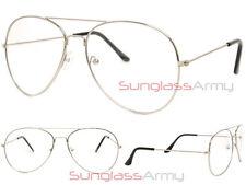 SILVER/CLEAR LENS Aviator Designer Frame mens womens classy retro eye glasses