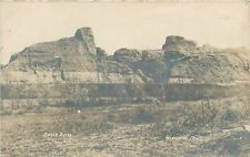 Glendive Mt Eagle Butte Rock Formation~Real Photo Postcard Rppc c1910