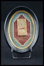 † 19TH ST MARGARET MARY ALACOQUE + ST AUGUSTINE RELIQUARY 2 RELIC FRAME FRANCE †