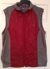 Reebok Men's Large Red/Gray Warm Fleece Lined Sleeveless Vest Full Zip Outerwear