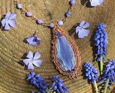 Lavender purple frosted lace agate wire wrap necklace witch pastel goth lilac