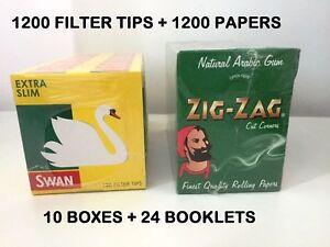 1200 X ZIG ZAG GREEN REGULAR ROLLING PAPERS & 1200 X SWAN EXTRA SLIM FILTER TIPS