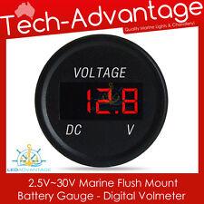 12V MARINE FLUSH MOUNT COMPACT DASHBOARD BOAT BATTERY GAUGE DIGITAL VOLTMETER