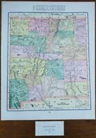 """Vintage 1900 NEW MEXICO Map 11""""x14"""" ~ Old Antique Original ROSWELL SANTA FE TAOS"""