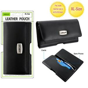 For Motorola MOTO G PLAY 2021 - Black Horizontal Leather Pouch Case Belt Holster