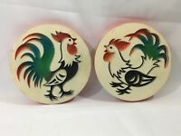 Vintage Chalkware Wall Hanging Plaque Trivets Roosters 2 piece Kitchen Decor
