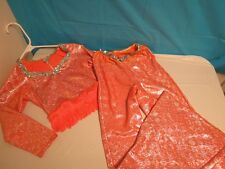 KIDS DANCE WEAR COSTUME ORANGE SILVER SEQUINS TOP & BOTTOMS LG