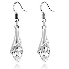 Bridal Silver White Angel Eye Tear Drop Dangle Earrings E1016