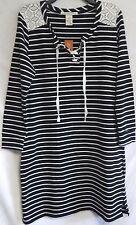 American Rag Plus Size 0X 14W Black Stripe Lace-Up Long Sleeve Dress Orig $64.50