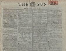 "RARE ORIGINAL NEWSPAPER ""THE SUN"" (16 July 1800) BECKWITH & BURN DEATH SENTENCES"
