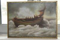 """Huile sur toile """"Tempête en mer"""" peint et signé par L.Roujon en 1964"""