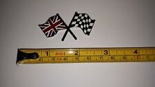CROSSED FLAG BADGE UNION JACK / CHEQUERED METAL ENAMLED STICK ON