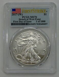 2017 (W) Silver American Eagle - PCGS MS 70 First Day 1 of 1000