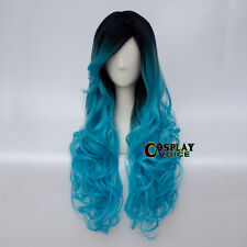 Blue Mix Black dyeing 75cm Curly Long Anime Women Girls Curly Party Cosplay Wigs