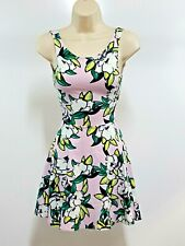 DIVIDED H&M Womens Skater Dress Pink Green Floral Stretch Sleeveless Mini 2  (P)