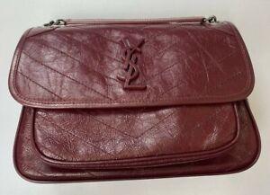 YSL Women's Niki Medium Leather Shoulder Bag Sale Pre-owned