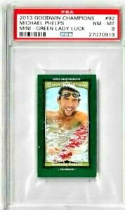 2013 Goodwin Champions 92 Michael Phelps Mini Green Lady Luck PSA 8