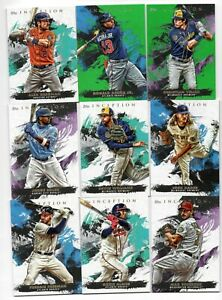 LOT OF (9) 2021 TOPPS INCEPTION BASE PARALLEL BREGMAN ACUNA YELICH HADER FREEMAN
