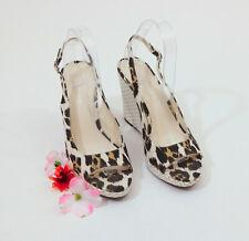Via Spiga Animal Print Ivory Embossed Wicker Wedge Sandals 8M