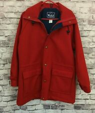 Vintage The Woolrich Woman Red Button Up Wool Coat Size Medium