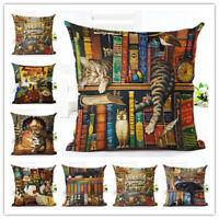 European Style Cute Book Cat Party Cushion linen Throw Pillowcase Home Decor 18'
